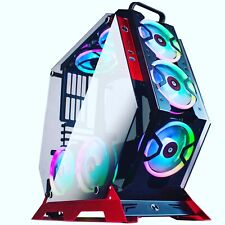 KEDIERS ATX Gaming Computer Case Pc Mid Tower Case 2 Tempered Glass&7 RGB Fan