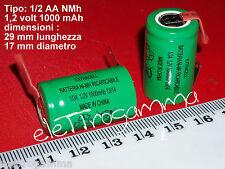 BATTERIA  1/2 A 2/3 AF 1.2 V ni-mh 1000mAh term saldare