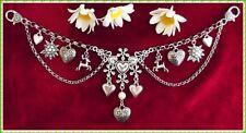 Edles Herz Charivari Kette mit Hirsche Edelweiß Herzen und Perle - Trachtenkette