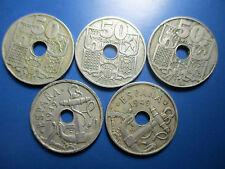 LOTE DE 5 MONEDAS DE 50 CÉNTIMOS DE 1949