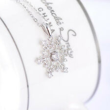 New Creative Girls 925 Silver Plated Cubic Crystal Snowflake Necklace Pendant