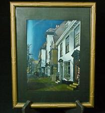 Vintage Framed Foil Lithograph Of City Street 1960's