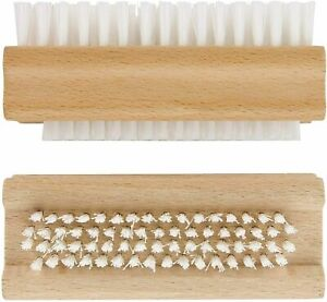 2 X WOODEN NAIL BRUSH CLEANING FINGER MANICURE PEDICURE SCRUBBING STRONG BRISTLE
