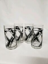 Vintage Drinking Glasses / Tumblers  Libbey Set Of 4 Black Geometric Design MCM