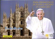 FOLDER VISITA PAPA FRANCISCO FRANCIS MILAN 2017 VATICAN ITALIA First Day Cover