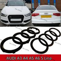 Schwarzes Glanzset Vordere Hinterringe Logo Emblem Audi A3 A4 A5 A6 Sline