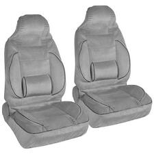 Gray 2pc High Back Bucket Seat Covers Set - Built-In Lumbar Support Cushion