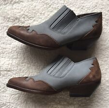 Details Brown Blue Leather Cowboy Boots Western Short Ankle Boots Size 7.5 Women