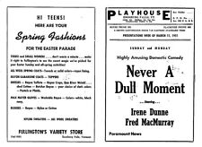 1951 Enosburg Falls VT Playhouse Movie Theater Program - Never A Dull Moment