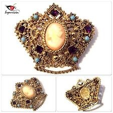 Vintage Florenza Brooch Jeweled Cameo Lady Crown Beautiful Rare