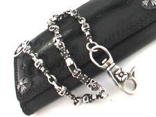 "Solid 925 Sterling Silver Cross & Skull Wallet Chain.129 grams, 20"" / 51 cm"