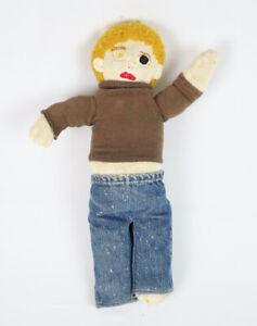 Vintage Handmade Funny Creepy Distressed Doll w/ Levis Selvedge Blue Jeans