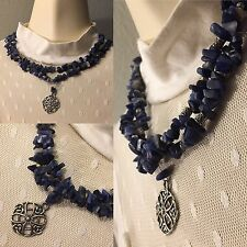 LAZULI LAPIS NECKLACE STERLING SILVER PENDANT 925 MULTI STRAND VINTAGE JEWELRY