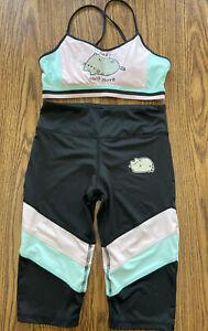 2pc Set Pusheen So Lazy Can't Move Sports Bra & Crop Pants Colorblock Medium