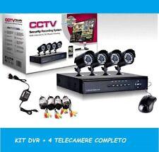 Kit per Videosorveglianza da 4 canali telecamere infrarossi + DVR e ALIMENTATORE