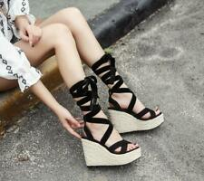 Women Lace Up Strappy Wedge High Heel Platform Slingback Sandals Beach Shoes