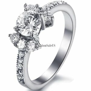 Stainless Steel Ring Women's Wedding Band w Round Cut Clear Cubic Zirconia NEW