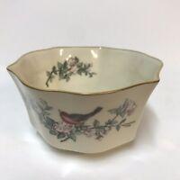 "Lenox Serenade Pattern 5"" Fluted Round Bowl Cream Color Red Bird Gold Trim Rim"