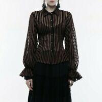 Punk Rave Brown Striped Dress Shirt Gothic Victorian Elegant WY-823