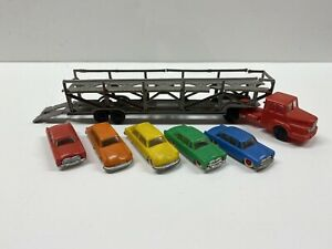Vintage American Flyer #24566 New Haven Auto Carrier Red Semi & 5 Cars AS-IS