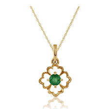 Gemondo 9ct Yellow Gold Floral Single Stone 0.14ct Emerald Pendant on Chain