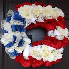"20"" Wonderful Unique Handmade Red White Blue Wreath - Americano 2 GREAT GIFT"