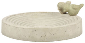 Round Bird Bath Feeder Concrete Stone Garden Wildlife Ampitheatre-Style 29cm