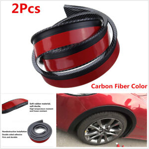 2X 1.5M Car Fender Flare Extension Wheel Eyebrow Moulding Protector Carbon Fiber