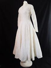 Vestido de Boda Vestido Vintage 50s 40s Blanco Encaje Rockabilly verdadero Original Círculo Reino Unido 8