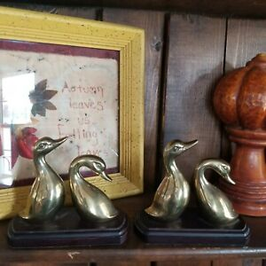 Vintage Brass MALLARD Duck Geese Wood BOOKENDS Decoy HUNTING Wooden Library book