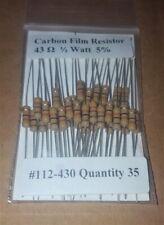 43 Ohm 1/2 Watt   5% Carbon Film Resistors (35pcs)  New Stock  USA Seller