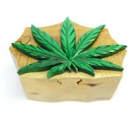 Green Pot Leaf Wood Puzzle Box Handmade Marijuana Jewelry Trinket Decorative Box