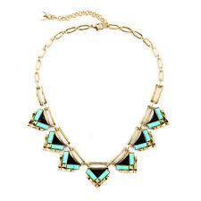 Geometric Zia Gold Sutton Statement Necklace With Jade Green Stone Enamel