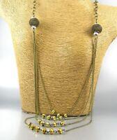 Long Multi Strands Crystal Beaded Fashion Necklace Earrings Women Jewelry