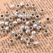 50/100Pcs Antique Tibetan Silver Round Charm Spacer Beads  3MM Hole CA3035