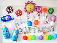 LARGE HAPPY BIRTHDAY SELF INFLATING BALLOON BANNER BUNTING PARTY / DECORATION UK