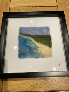 """Handmade Needle Felted Unique Picture-Beach Landcape-Ideal Gift-Framed 10 x 10"""""""