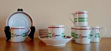 "6 Crown Porcelain ""Prestige"" Espresso cups and saucers, green and red banded"
