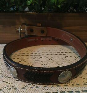 Nocona Leather Concho Braided Youth Belt Size 26 N4421644