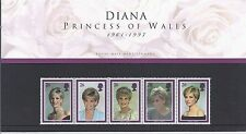 Diana-Princess of Wales Stamp Presentation Pack-5 different Stamps