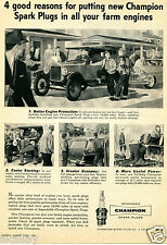 1957 Print Ad of Champion Spark Plugs 4 good reasons for putting in farm engines