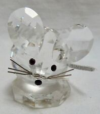 "Swarovski Austria Silver Crystal Figurine: Mouse Leather Tail #7606 1.25"" Tall"