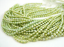 Natural Green Freshwater Pearls, 4-5mm - 16 inch strand
