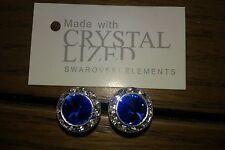 Elementos SWAROVSKI GENUINOS Azul De Cristal De Zafiro Aretes 13mm