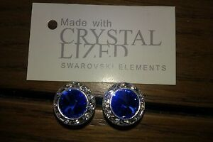 13mm Stud Earrings Made With Swarovski® Crystals - Blue Sapphire