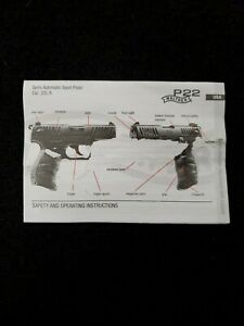 Walther P22 Pistol Owners Instruction and Maintenance Manual Factory OEM