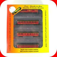 N Scale CLANCY'S CIRCUS 50' OVERLAND Passenger Car 4-Pack Set - ROUNDHOUSE 89445