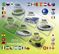Curacao 2014 MNH World Cup Football in Brazil 6v M/S Soccer Stadiums Stamps