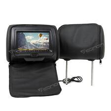 "Black Leather 2x 7"" Digital Screen Car Headrest Monitor DVD Player USB Sony Lens"