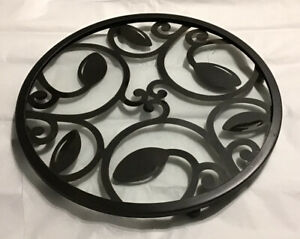 "12"" Diameter Footed Metal Scroll Candle Plate w/Glass Insert, Black"